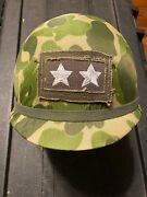Us Army M1c Paratrooper Airborne Helmet With Embroidered Major General Rank