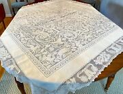 Antique 19th Century Linen Tablecloth With Fine Extensive Lace Ww211