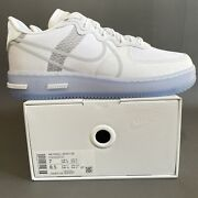 Nike Air Force 1 React Qs Menandrsquos Size 7 White Ice Light Bone Coral Cq8879-100 Af1