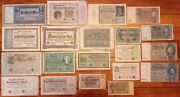 1909-1930s Germany Large Variety 20 Diff Antique Banknote Currency Lot Reichmark