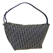Christian Dior Trotter Pattern Hand Bag Pouch Mc0073 Purse Navy Canvas 39769