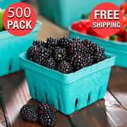 500/case 1 Pint Green Berry Produce Fruit Basket Molded Pulp Cardboard Container