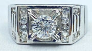 .85 Ct Natural Diamond Mens Solitaire Pinky Ring 18k White Gold See Video
