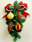 Bucilla Pine Cones And Holly Discontinued Felt Christmas Wall Hanging Kit Brandnew