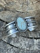 Navajo Handmade Sterling And Number 8 Turquoise Signed Industrial Cuff Signed