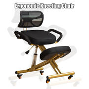 Ergonomic Kneeling Chair W/backandhandleandcaster Mesh Fabric Cushion Seat Offices