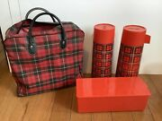 Vintage Aladdin Red Plaid Picnic Set 2 Thermos And Sandwich Lunch Boxes