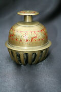 Antique Solid Brass Indian Elephant Bell Engraved Flower