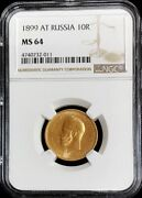 1899 At Gold Russia 10 Roubles Nicholas Ii Coinage Ngc Mint State 64