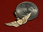 Estate 14k Yellow Solid Gold Pilots Wings Pendant-3g Tw- No Reserve