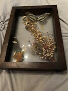 Vintage Lot 2 Butterflies Framed And Mounted In Wood/glass Display