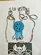 Vintage Native American Beaded Medallion Necklace / Trading Post Jewelry