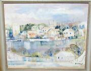 Alfred Birdsey Old Bermuda Town Scene Sail Boats Original Oil On Canvas Painting