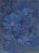 Barbara Doyle B.1917 - Contemporary Oil, Floral Study In Blue