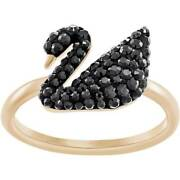 Womenand039s Ring Iconic Swan Black Crystal Rose Gold Size 58 5366580
