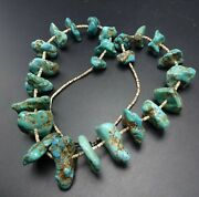 Heavy Old Navajo Chunky Tumbled Turquoise Beads Strand Necklace Shell Heishi