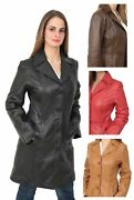Ladies Trench 3/4 Length Real Leather Coat Parka Fitted Jacket Range Of Colors