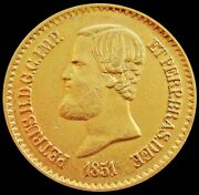1851 Gold Brazil 20000 Reis Pedro Ii Coin Extremely Fine Condition