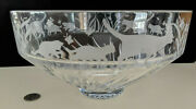 Lenox Etched Heavy Crystal Glass 10 Centerpiece Bowl - Frosted Cats Kittens