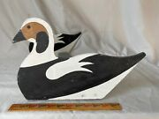 Old Squaw Duck Decoy Wood Raft With Metal Raft Clip Excellent Paint Colors