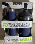 New Reduce Wine Cooler Set, Blue - 2 Tumblers And Chiller 3 Pack Fits Most 750ml