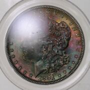 1881-s Morgan 1 Pcgs Cac Certified Ms65 Premium Quality Color Toned Obverse