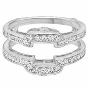 New Wedding 925 Sterling Silver Ring Guard Set Cubic Zirconia Ring Size 8