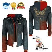 Harley Quinn Womenand039s Daddyandrsquos Lilandrsquo Monster Leather Jacket - New Arrival
