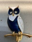 Vintage 60s Marcel Boucher Navy Blue And White Enamel Owl 2 Tall Brooch Pin 8668p