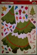 3x Holiday Time Window Decorations Clings Build A Christmas Holiday Tree