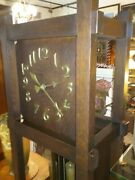 Rare Oscar Onken Arts Crafts Oak Grandfather Clock Shop Of The Crafters Works