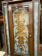 Entry Door In Frame Acid Etched Flowers With Sidelights 79x48.5