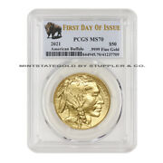 2021 50 American Gold Buffalo Pcgs Ms70 First Day Of Issue Fdoi 1oz 24kt Coin