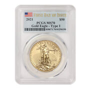 2021 50 Gold American Eagle Type 1 Pcgs Ms70 First Day Of Issue Fdoi 1oz 22kt
