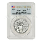2020 100 Platinum Eagle Pcgs Ms70 First Day Of Issue Fdoi 1oz .9995