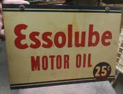 Antique Double Sided Essolube Motor Oil Sign Am-5-40