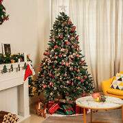 Homde 6ft Christmas Tree Artificial Full Xmas With Bag Flocked Snow Pine Cone