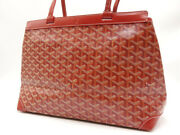Goyard Bellechasse Pm Tote Bag Red Pvc Canvas Leather At120150 Authentic