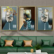 Crystal Porcelain Painting Eagle Butterfly Goldfish Wineglass Abstract Canvas
