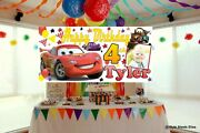 Large Personalised Disney Cars Birthday Banner Photo Racing Party Decorations