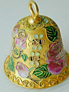Vintage Dillard's Collectibles Cloisonne Gold Tone Bell With Peonies And Bees