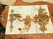 Antique Brass Wall Candle Holder, Brass Wall Lamp And Brass Clock