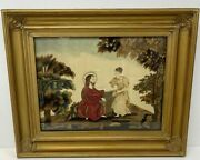 Antique Embroidery Picture 19th Century Framed Silk Rebecca Jesus Well Religeous