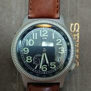 Lip-type10 Silver Case Brown Leather Belt Stainless Steel Analog Date