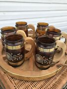 Vintage 6 - Siesta Ware Western Cowboy Amber Glass Beer Mugs 🍺 With Wooden Tray