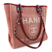 Deauville Pm Tote Bag A66939 Pink Red Canvas Leather Silver Chain Cc Logo