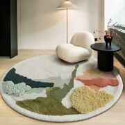Nordic Pastoral Style Abstract Patten Handmade60 Wool Rug Decoration Art Carpet