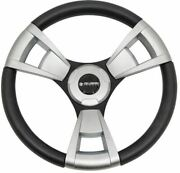 Gussi Black/brushed Aluminum Steering Wheel For Ezgo And Star Golf Carts