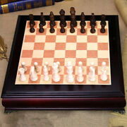 Large Wooden Chess Set Professional Tournament Board Games Storage Slots