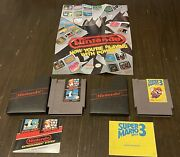 Super Mario 1and3 Games For Nes + Rare Og Poster And Game Play Manuals